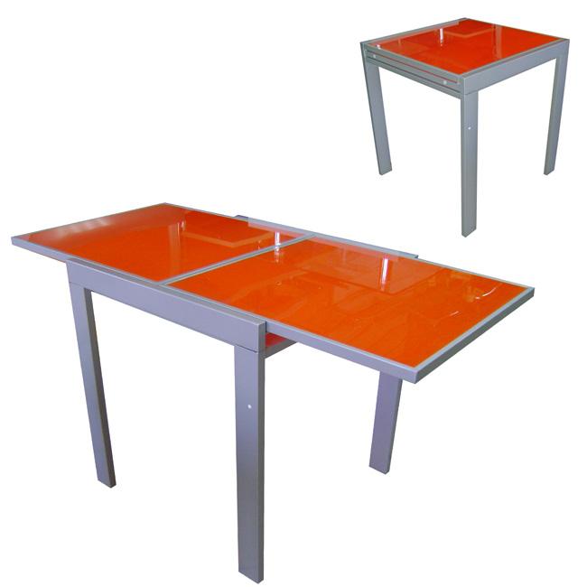 Tavolo apribile in vetro temperato arancio e telaio for Tavolo apribile